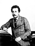 1900s Portraits Photos - Albert Einstein At The Swiss Patent by Everett