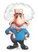 Physicist Framed Prints - Albert Einstein, Caricature Framed Print by Gary Brown