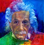 Featured Artist Metal Prints - Albert Einstein Metal Print by David Lloyd Glover