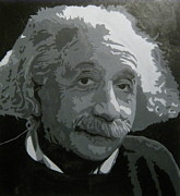 E Black Prints - Albert Einstein in Black and White Print by Mary VanDenBerg