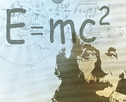 E=mc2 Framed Prints - Albert Einstein Framed Print by Mehau Kulyk
