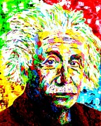 Albert Einstein Paintings - Albert Einstein by Mike OBrien