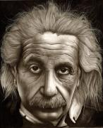 Pencil Drawings Drawings - Albert Einstein-Millenium Man by Lee Appleby