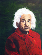 Albert Einstein Paintings - Albert Einstein Original Oil Painting  by Marc Mancuso