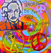 Intellect Framed Prints - Albert Einstein PEACE Framed Print by Tony B Conscious