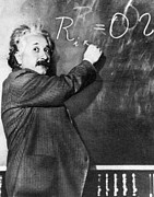 Blackboard Photos - Albert Einstein by Photo Researchers