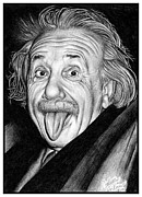 Albert Drawing Drawings Posters - Albert Einstein Portrait Poster by Colleen Trillow