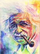 Albert Pastels Framed Prints - Albert Einstein Framed Print by Raymond L Warfield jr