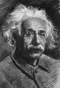 Einstein Drawings - Albert Einstein by Ylli Haruni