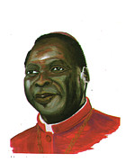 Religious Art Drawings - Albert Ndongmo by Emmanuel Baliyanga