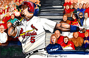 Mlb Drawings Posters - Albert Pujols Poster by Dave Olsen