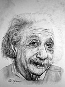 Einstein Drawings - Albert by Roy Kaelin