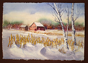 Cabin Paintings - Alberta Winter by Mohamed Hirji