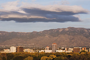 High Rise Prints - Albuquerque Skyline with the Sandia Mountains in the Background Print by Jeremy Woodhouse