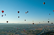 Balloon Fiesta Framed Prints - Albuquerque View Framed Print by Jim Chamberlain