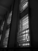 Alcatraz Photo Posters - Alcatraz Federal Penitentiary Cell House Barred Windows Poster by Daniel Hagerman