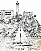 San Francisco Bay Drawings Prints - Alcatraz Island Print by Frederic Kohli
