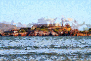 Tourist Attraction Digital Art Acrylic Prints - Alcatraz Island in San Francisco California . 7D14031 Acrylic Print by Wingsdomain Art and Photography