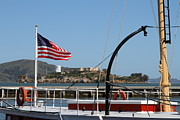 Alcatraz Acrylic Prints - Alcatraz Island Through The Hyde Street Pier in San Francisco California . 7D14163 Acrylic Print by Wingsdomain Art and Photography