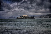 San Francisco Bay Pyrography Prints - Alcatraz Print by John Scharle