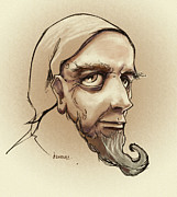 Beard Prints - Alchemist Sketch Print by Dorianne Dutrieux