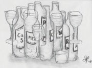 Glass Bottle Drawings - Alcoholics Synonymous  by Joubert Potgieter