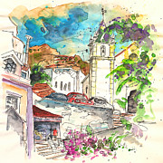 Towns Drawings - Alcoutim in Portugal 02 by Miki De Goodaboom