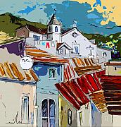 Towns Drawings - Alcoutim in Portugal 08 bis by Miki De Goodaboom