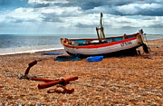 Beached Digital Art - Aldeburgh Fishing Boat by Bel Menpes