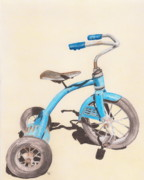 Boy Drawings Posters - Alders Bike Poster by Glenda Zuckerman