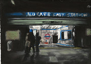Underground Art Pastels Prints - Aldgate East Station Print by Paul Mitchell