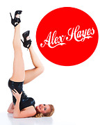Pin Up Posters - Alex Hayes Pin-up Logo Poster by Dean Farrell