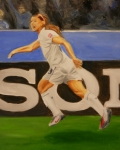 Soccer Painting Framed Prints - Alex Morgan scores Framed Print by James Lopez