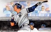 Baseball Drawings - Alex Rodriguez Hits 600th Home Run by Dave Olsen