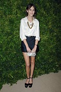 White Shirt Prints - Alexa Chung At Arrivals For Cfda Vogue Print by Everett