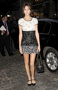 Cap Sleeves Prints - Alexa Chung Wearing A Chanel Dress Print by Everett