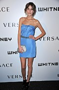 Clutch Bag Metal Prints - Alexa Chung Wearing A Versace Dress Metal Print by Everett