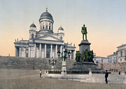 Helsinki Finland Prints - Alexander II Memorial at Senate Square in Helsinki Finland Print by International  Images