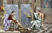 Gesturing Posters - Alexander Of Macedon And Aristotle Poster by Sheila Terry