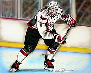 Hockey Drawings Prints - Alexander Ovechkin Print by Dave Olsen