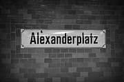Bahn Prints - Alexanderplatz Berlin U-bahn underground railway station name plates Germany Print by Joe Fox