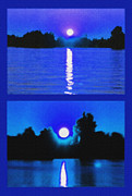 Moonshine Mixed Media Framed Prints - Alexandria Bay Moonrise Diptych Framed Print by Steve Ohlsen