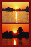 Prime Mixed Media - Alexandria Bay Sunset Diptych by Steve Ohlsen