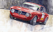 Watercolor Prints - Alfa Romeo Giulie Sprint GT 1966 Print by Yuriy  Shevchuk