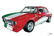 Alfa Romeo Gtv Prints - Alfa Romeo GT Print by Alain Jamar