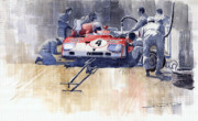 Retro Paintings - Alfa Romeo T33 TT3 1972 Targa Florio  by Yuriy  Shevchuk