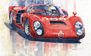 2 Paintings - Alfa Romeo Tipo 33 2 Targa Floria 1968 by Yuriy  Shevchuk