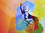 Movie Art Painting Metal Prints - Alfred Hitchcock Metal Print by Irina  March
