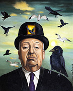 Horror Metal Prints - Alfred Hitchcock Metal Print by Leah Saulnier The Painting Maniac