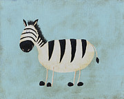 Zoo Painting Prints - Alfred the Zebra Nursery Art Print by Katie Carlsruh